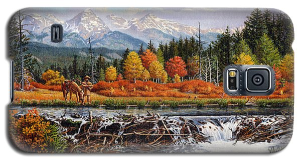 Western Mountain Landscape Autumn Mountain Man Trapper Beaver Dam Frontier Americana Oil Painting Galaxy S5 Case by Walt Curlee