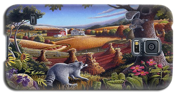 Rural Country Farm Life Landscape Folk Art Raccoon Squirrel Rustic Americana Scene  Galaxy S5 Case by Walt Curlee