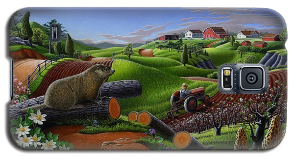 Farm Folk Art - Groundhog Spring Appalachia Landscape - Rural Country Americana - Woodchuck Galaxy S5 Case by Walt Curlee