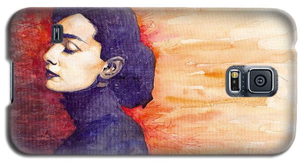 Celebrities Galaxy S5 Cases - Audrey Hepburn 1 Galaxy S5 Case by Yuriy  Shevchuk