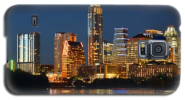 Skylines Galaxy S5 Cases - Austin Skyline at Night Color Panorama Texas Galaxy S5 Case by Jon Holiday