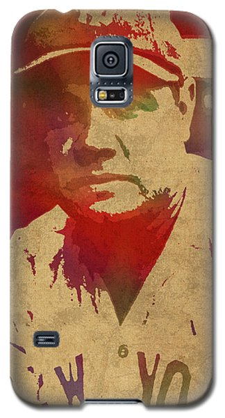 Babe Ruth Baseball Player New York Yankees Vintage Watercolor Portrait On Worn Canvas Galaxy S5 Case by Design Turnpike
