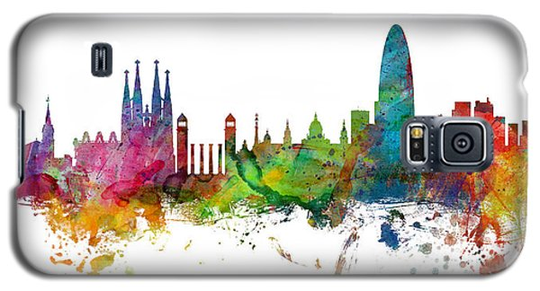 Barcelona Spain Skyline Panoramic Galaxy S5 Case by Michael Tompsett