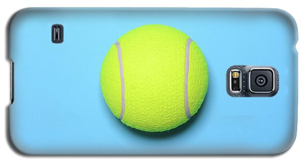 Big Tennis Ball On Blue Background - Trendy Minimal Design Top V Galaxy S5 Case by Aleksandar Mijatovic