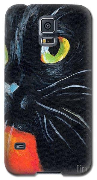 Black Cat Painting Portrait Galaxy S5 Case by Svetlana Novikova