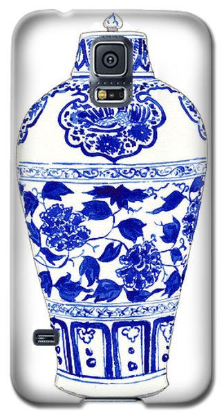 Blue And White Ginger Jar Chinoiserie Jar 1 Galaxy S5 Case by Laura Row