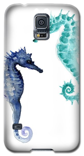 Blue Seahorses Watercolor Painting Galaxy S5 Case by Joanna Szmerdt