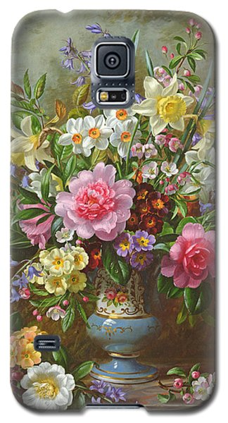 Bluebells Daffodils Primroses And Peonies In A Blue Vase Galaxy S5 Case by Albert Williams