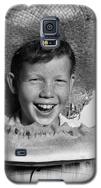 Boy Eating Watermelon, C.1940-50s Galaxy S5 Case by H. Armstrong Roberts/ClassicStock