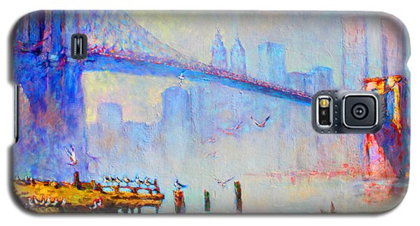 Brooklyn Bridge In A Foggy Morning Galaxy S5 Case by Ylli Haruni