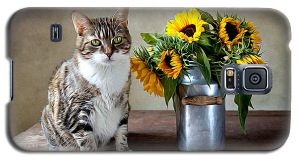 Cat And Sunflowers Galaxy S5 Case by Nailia Schwarz