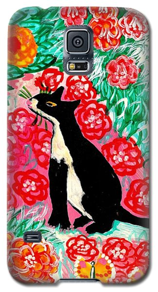 Ceramics Galaxy S5 Cases - Cats and Roses Galaxy S5 Case by Sushila Burgess