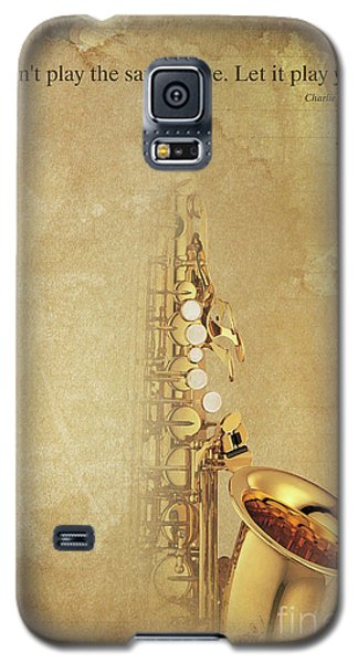 Charlie Parker Saxophone Brown Vintage Poster And Quote, Gift For Musicians Galaxy S5 Case by Pablo Franchi