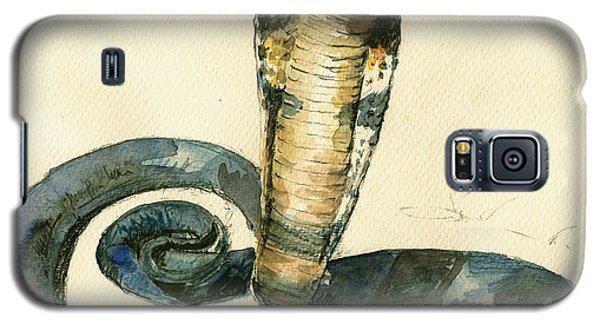 Cobra Snake Watercolor Painting Art Wall Galaxy S5 Case by Juan  Bosco
