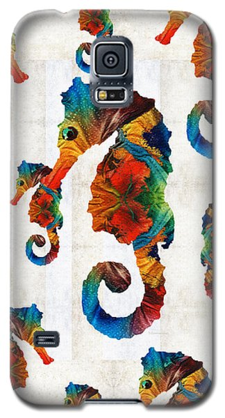 Colorful Seahorse Collage Art By Sharon Cummings Galaxy S5 Case by Sharon Cummings