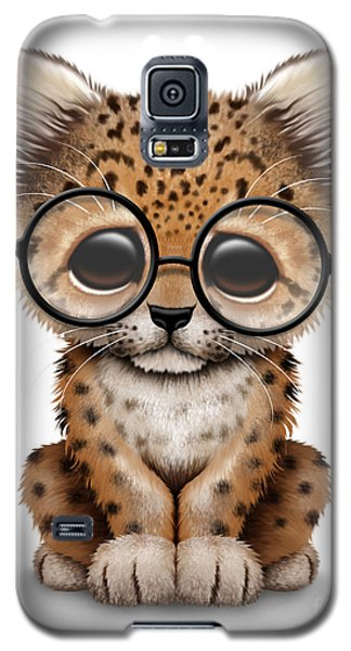 Cute Baby Leopard Cub Wearing Glasses Galaxy S5 Case by Jeff Bartels