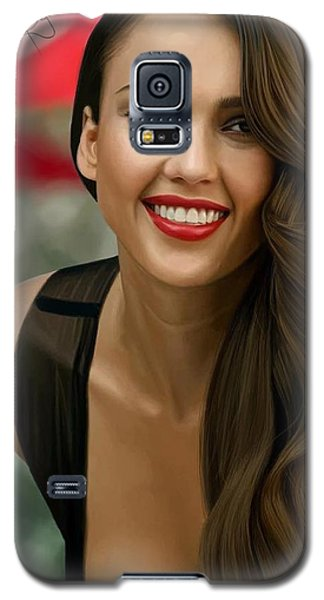 Digital Painting Of Jessica Alba Galaxy S5 Case by Frohlich Regian