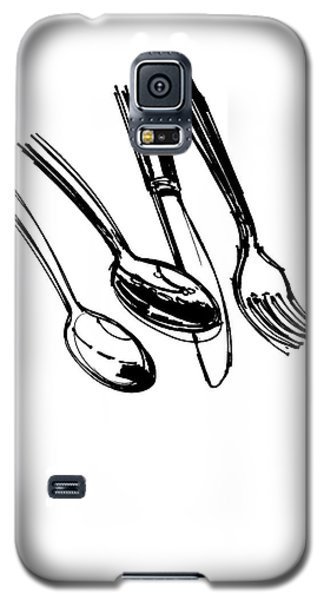 Diner Drawing Spoons, Knife, And Fork Galaxy S5 Case by Chad Glass