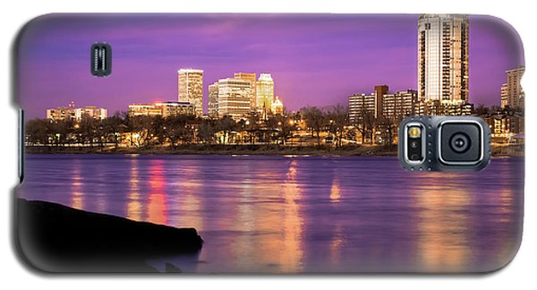 Downtown Tulsa Oklahoma - University Tower View - Purple Skies Galaxy S5 Case by Gregory Ballos