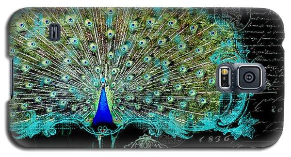 Elegant Peacock W Vintage Scrolls 3 Galaxy S5 Case by Audrey Jeanne Roberts