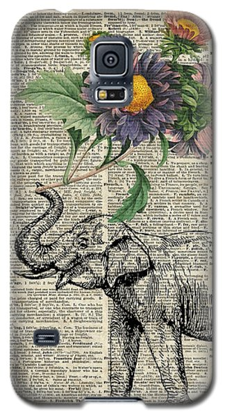 Elephant With Flowers Galaxy S5 Case by Jacob Kuch