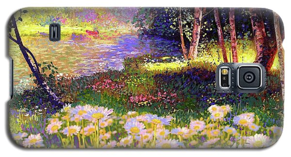 Enchanted By Daisies, Modern Impressionism, Wildflowers, Silver Birch, Aspen Galaxy S5 Case by Jane Small