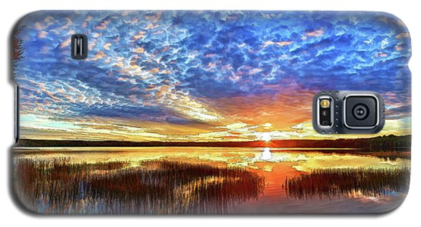Buy Galaxy S5 Cases - Fall Sunset at Round Lake Panorama Galaxy S5 Case by Bill Caldwell -        ABeautifulSky Photography