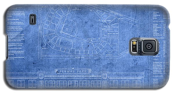 Fenway Park Blueprints Home Of Baseball Team Boston Red Sox On Worn Parchment Galaxy S5 Case by Design Turnpike