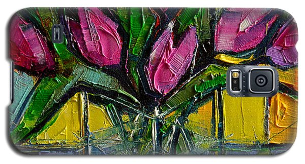 Floral Miniature - Abstract 0615 - Pink Tulips Galaxy S5 Case by Mona Edulesco