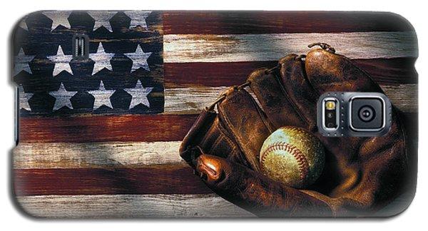 Folk Art American Flag And Baseball Mitt Galaxy S5 Case by Garry Gay