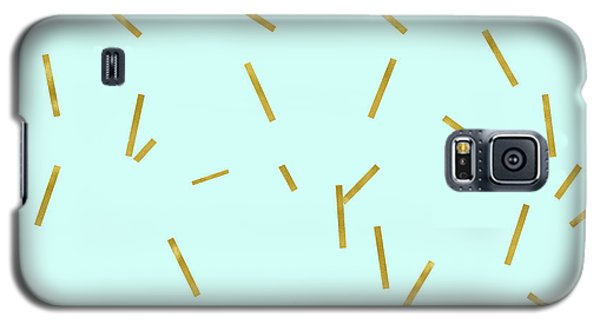 Glitter Confetti On Aqua Gold Pick Up Sticks Pattern Galaxy S5 Case by Tina Lavoie