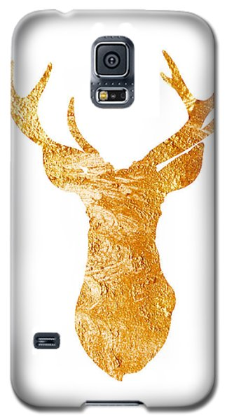 Gold Deer Silhouette Watercolor Art Print Galaxy S5 Case by Joanna Szmerdt