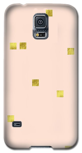 Golden Scattered Confetti Pattern, Baby Pink Background Galaxy S5 Case by Tina Lavoie