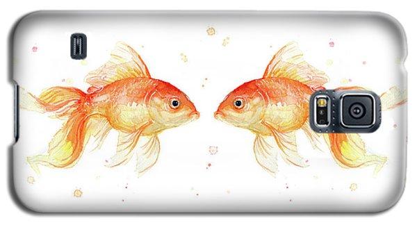 Goldfish Love Watercolor Galaxy S5 Case by Olga Shvartsur