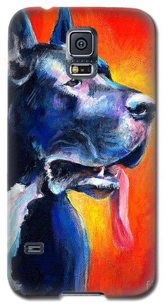 Drawings Galaxy S5 Cases - Great Dane dog portrait Galaxy S5 Case by Svetlana Novikova