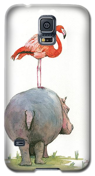 Hippo With Flamingo Galaxy S5 Case by Juan Bosco
