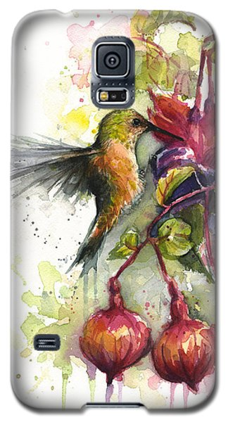 Hummingbird And Fuchsia Galaxy S5 Case by Olga Shvartsur