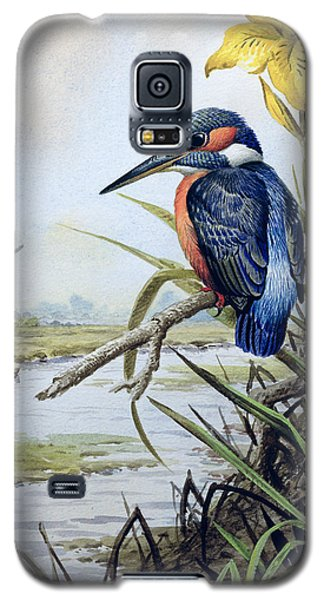 Kingfisher With Flag Iris And Windmill Galaxy S5 Case by Carl Donner