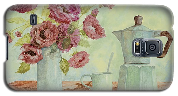 Still Life Galaxy S5 Cases - La Caffettiera E I Fiori Amaranto Galaxy S5 Case by Guido Borelli