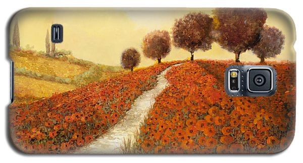 Landscapes Galaxy S5 Cases - La Collina Dei Papaveri Galaxy S5 Case by Guido Borelli