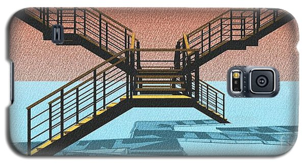 Large Stair 38 On Cyan And Strange Red Background Abstract Arhitecture Galaxy S5 Case by Pablo Franchi