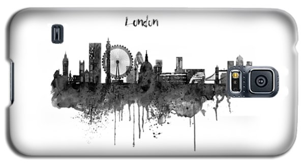London Black And White Skyline Watercolor Galaxy S5 Case by Marian Voicu