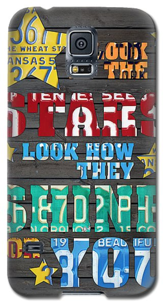 Look At The Stars Coldplay Yellow Inspired Typography Made Using Vintage Recycled License Plates Galaxy S5 Case by Design Turnpike