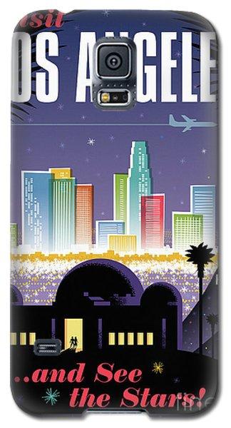 Los Angeles Retro Travel Poster Galaxy S5 Case by Jim Zahniser