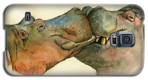 Love Between Hippos Galaxy S5 Case by Juan  Bosco