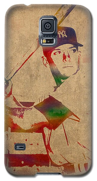 Mickey Mantle New York Yankees Baseball Player Watercolor Portrait On Distressed Worn Canvas Galaxy S5 Case by Design Turnpike