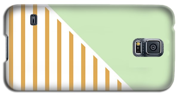 Mint And Gold Geometric Galaxy S5 Case by Linda Woods