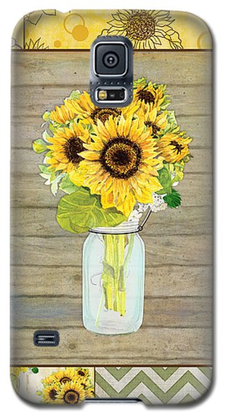 Modern Rustic Country Sunflowers In Mason Jar Galaxy S5 Case by Audrey Jeanne Roberts