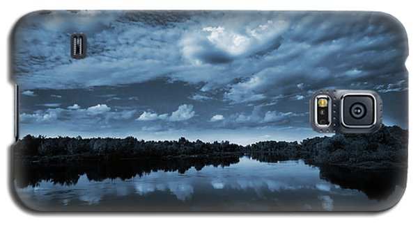 Blue Galaxy S5 Cases - Moonlight over a lake Galaxy S5 Case by Jaroslaw Grudzinski