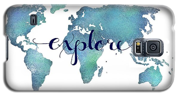 Navy And Teal Explore World Map Galaxy S5 Case by Michelle Eshleman